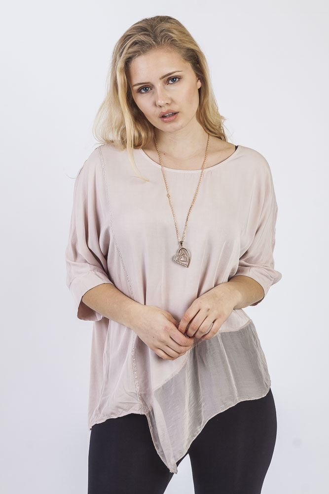 Chiffon Asymmetric Panel Necklace Top