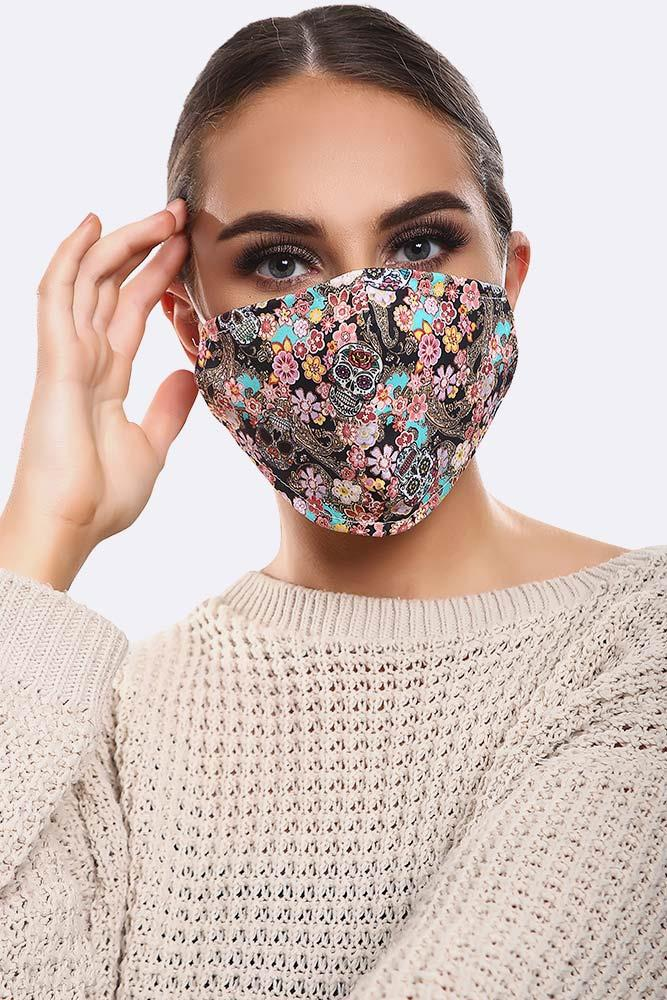 Floral Black Skull Print Cotton Face Masks Cover