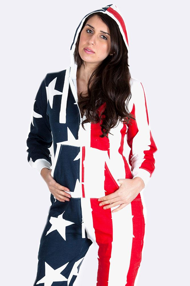 Wholesale Hooded Usa Flag Jumpsuit