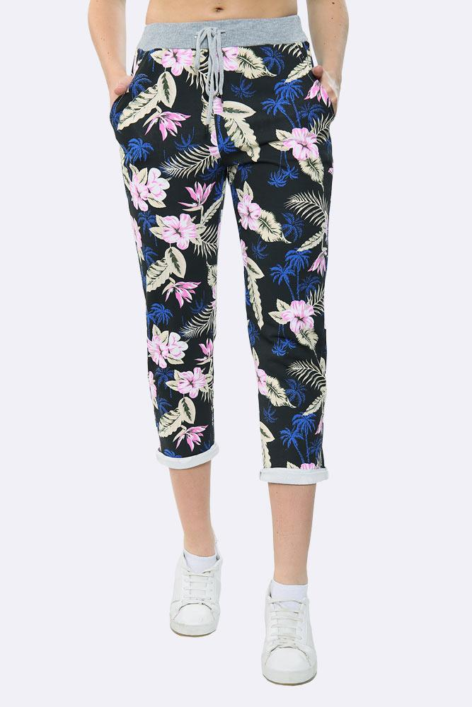 Leaf Print Pocket Drawstring Trouser