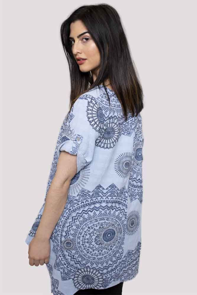 Wholesale Mantra Pattern Short Sleeve Cotton Top