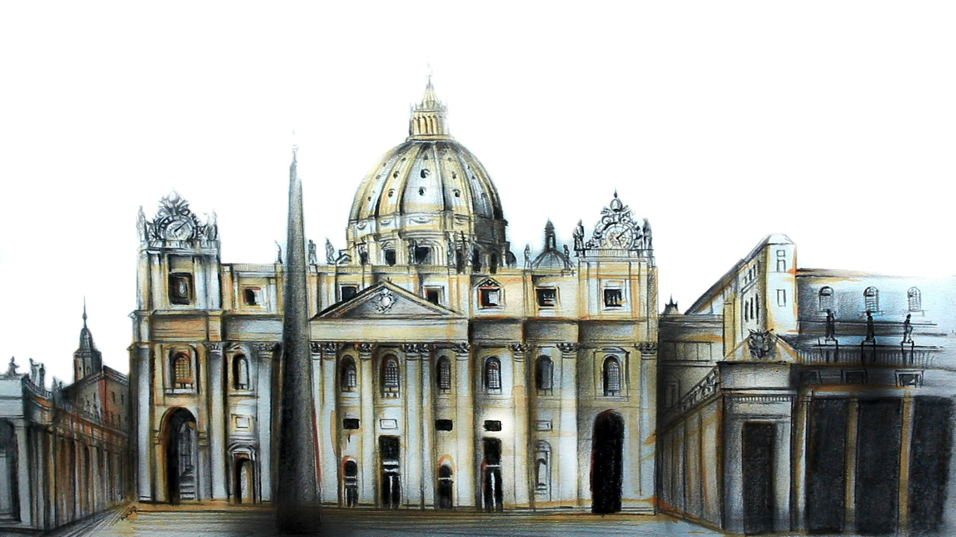 Drawing St Peter's Basilica