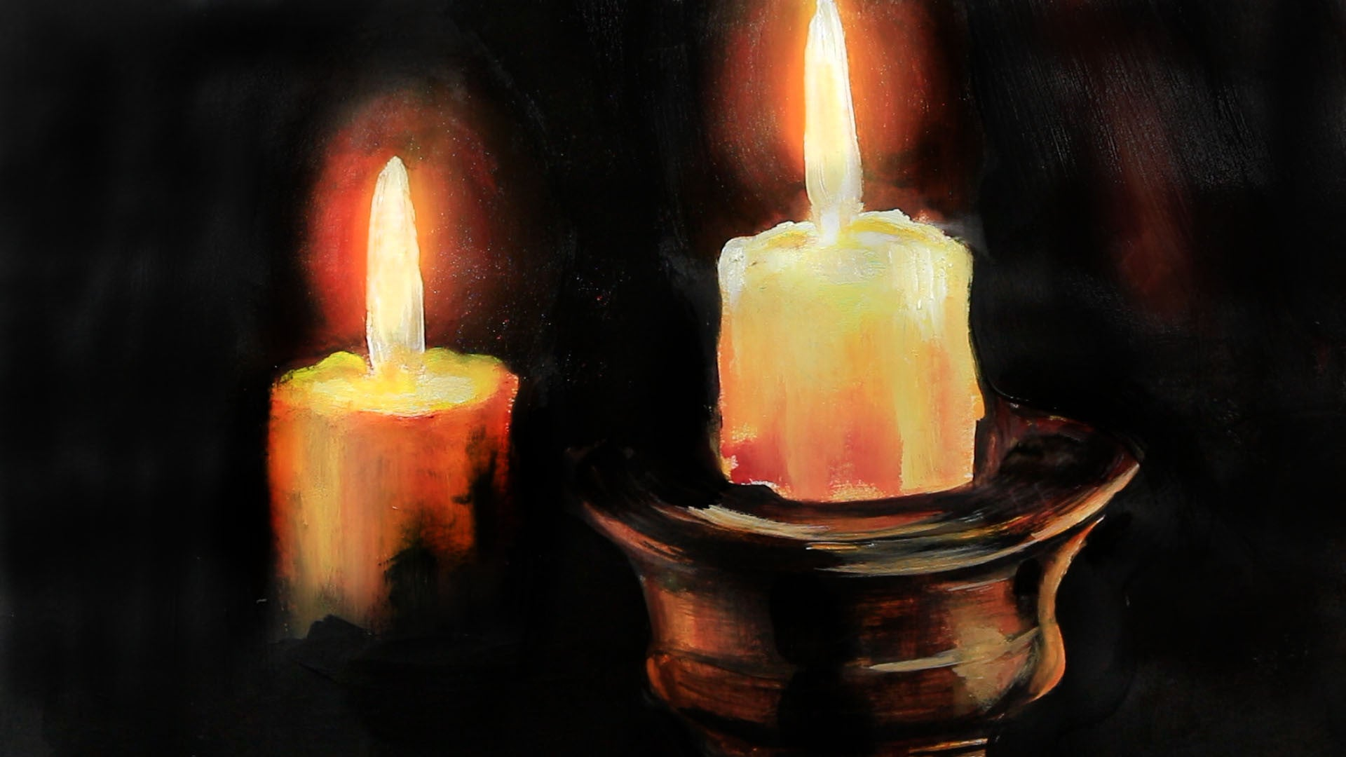 Painting Candles Burning in the Dark - MG Art Gallery for Melting Candle Painting  75tgx