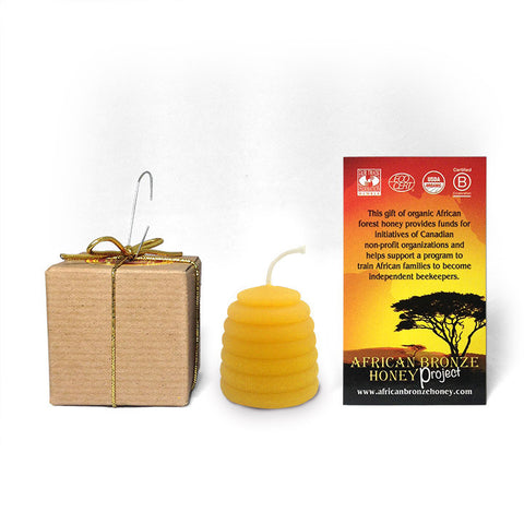 African Bronze beehive candle contains organic beeswax, from Canadian and Zambia bees.