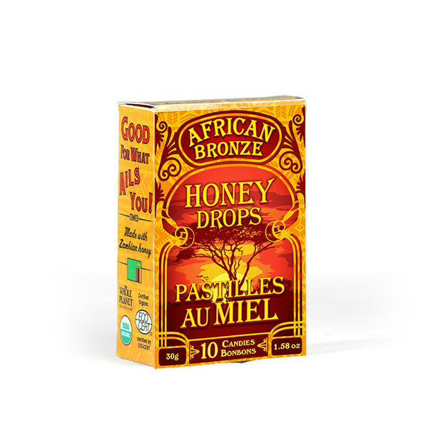 African Bronze Honey Drops. A delicious candy made from our organic honey, it is fair-trade, raw, unpasteurized and wild from a tropical forest in Zambia.