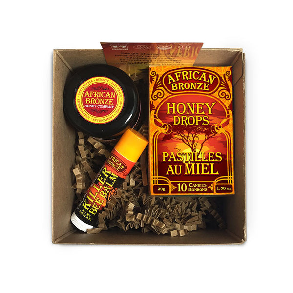 African Bronze Gift Kit, contains all of our organic, fair-trade, raw, honey products from a tropical forest in Zambia. Empower your gift giving!