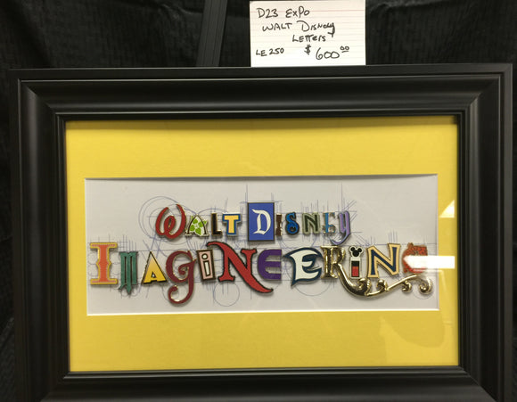 Walt Disney Imagineering LE250 Special Letter Pin Set Framed