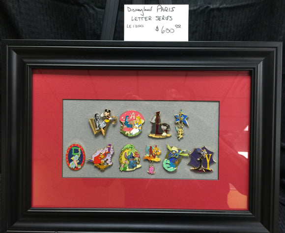 Disneyland Paris LE1200 Letter Pin Series Framed Set