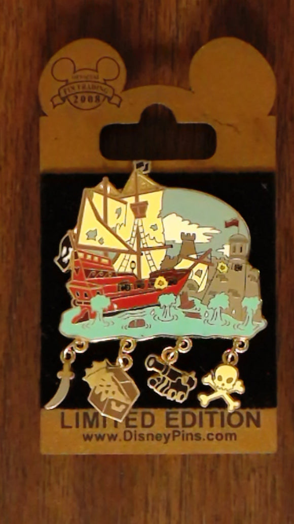 Pin 60427 WDW - Gold Card - Attraction Charms - Pirates of the Caribbean
