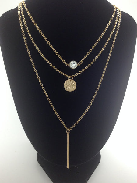 Triple Layer of Gold Layered Necklace