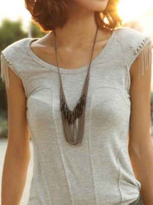 Bead & Chain Statement Necklace - Necklace - Top Layer Boutique