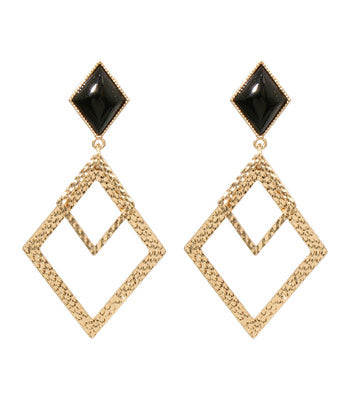 Black Diamond Drop Earrings - Earrings - Top Layer Boutique