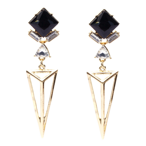 Gold Pyramid Drop Earrings