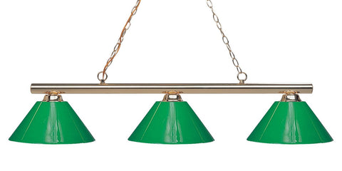 Sharp Shooter Pool Table Light Polished Brass/Solid Green Shade - Gameroom Goodies Pool Table Lights