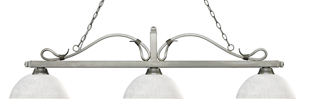 Melrose Pool Table Light  Antique Silver/Dome White Linen Shade - -Contemporary Pool Table Light-Z-Lite