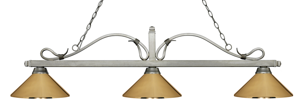 Melrose Pool Table Light Antique Silver/Polished Brass Shade - Gameroom Goodies Pool Table Lights