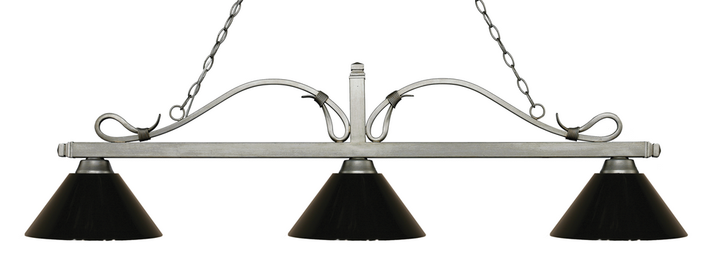 Melrose Pool Table Light Antique Silver/Black Shade - Gameroom Goodies Pool Table Lights