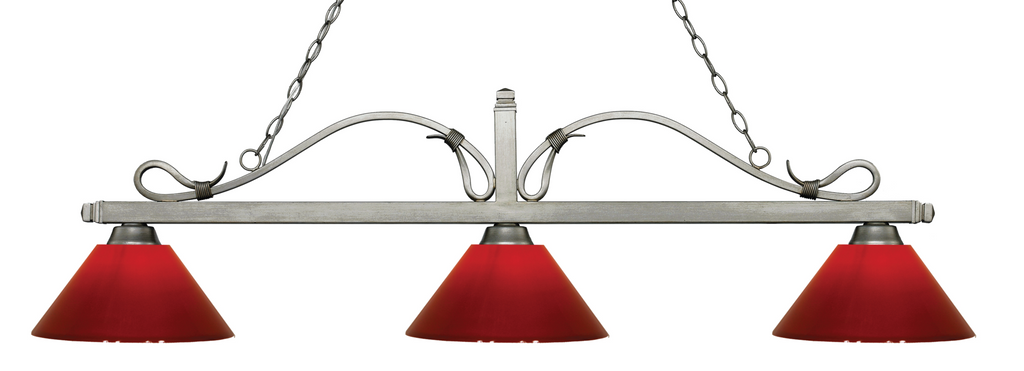 Melrose Pool Table Light Antique Silver/Red Shade - Gameroom Goodies Pool Table Lights