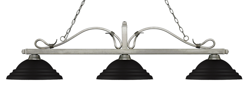 Melrose Pool Table Light Antique Silver/Stepped Matte Black Shade - Gameroom Goodies Pool Table Lights
