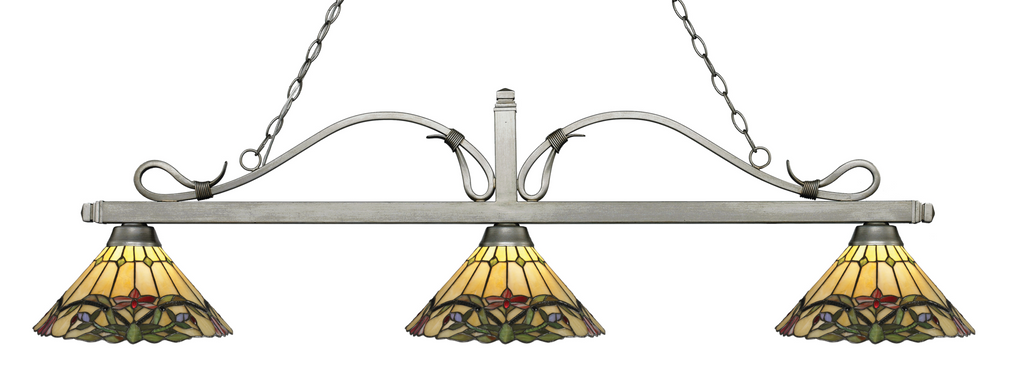 Melrose Pool Table Light Antique Silver/Cone Multi-Coloured Tiffany Shade - Gameroom Goodies Pool Table Lights