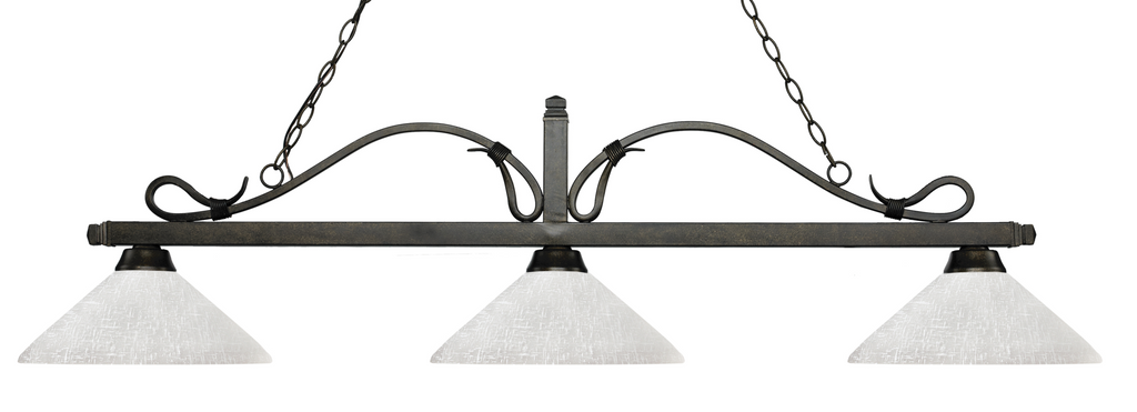 Melrose Pool Table Light Bronze/Angle White Linen Shade - Gameroom Goodies Pool Table Lights