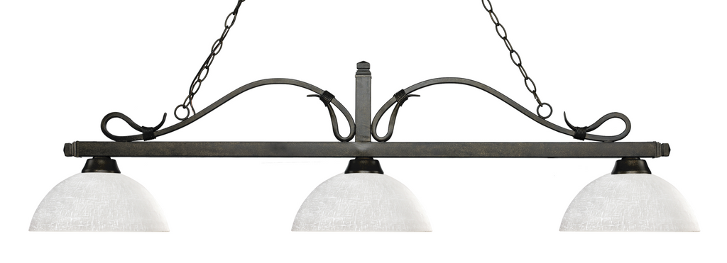 Melrose Pool Table Light Bronze/Dome White Linen Shade - Gameroom Goodies Pool Table Lights