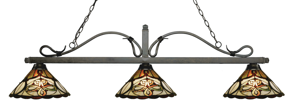 Melrose Pool Table Light Bronze/Funnel Tiffany Shade - Gameroom Goodies Pool Table Lights