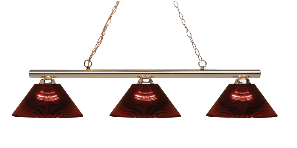Sharp Shooter Pool Table Light Polished Brass/Burgundy Shade - Gameroom Goodies Pool Table Lights