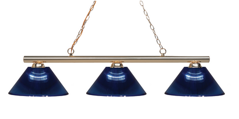Sharp Shooter Pool Table Light Polished Brass/Dark Blue Shade - Gameroom Goodies Pool Table Lights