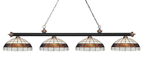 Riviera Tiffany 4 Shade Pool Table Light Black & Antique Copper 200-4MB+AC-F14-1 - -Tiffany Style Pool Table Light-Z-Lite
