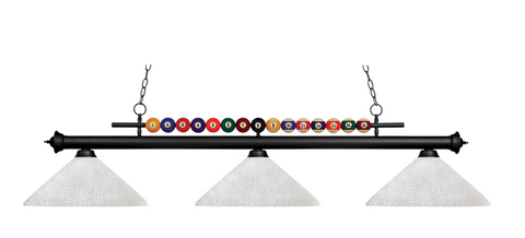 Shark Pool Table Ball Light Black/Angle White Linen Shade - Gameroom Goodies Pool Table Lights
