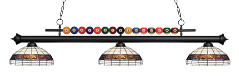 Shark Matte Black Tiffany Pool Table Light 170MB-F14-1 - -Billiard Balls Pool Table Light-Z-Lite