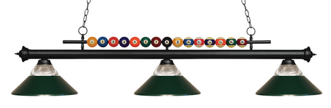Shark Pool Table Ball Light Black/Dark Green Glass Shade - Gameroom Goodies Pool Table Lights