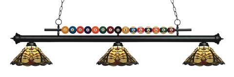 Shark Matte Black Tiffany Pool Table Light 170MB-Z14-46 - Gameroom Goodies Pool Table Lights