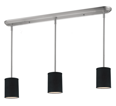 Albion Brushed Nickel Modern 3 Shade Black Pool Table Light - Gameroom Goodies Pool Table Lights