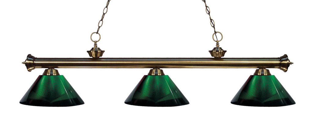Riviera Pool Table Light Antique Brass/Green Shade - Gameroom Goodies Pool Table Lights