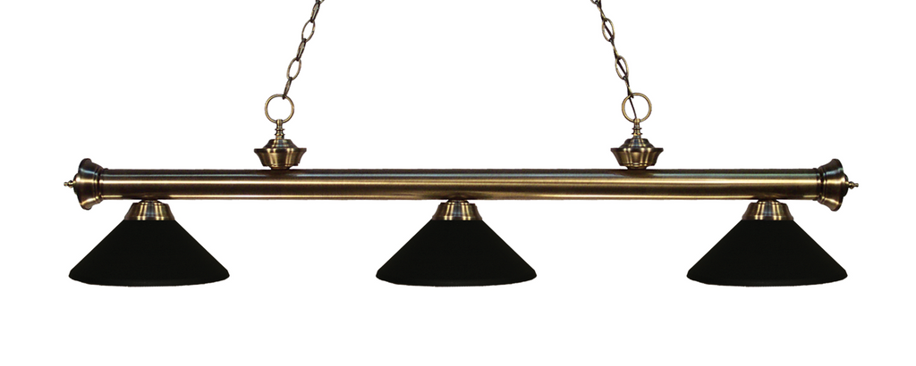 Riviera Pool Table Light Antique Brass/Matte Black Shade - Gameroom Goodies Pool Table Lights