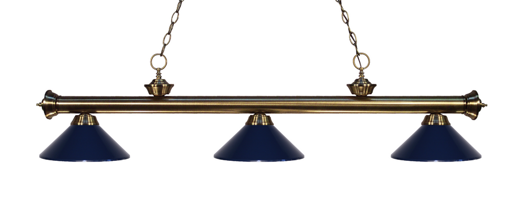 Riviera Pool Table Light Antique Brass/Navy Blue Shade - Gameroom Goodies Pool Table Lights