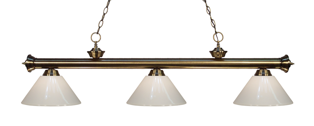 Riviera Pool Table Light Antique Brass/White Shade - Gameroom Goodies Pool Table Lights