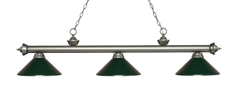 Riviera Pool Table Light Antique Silver Dark Green Shade - Gameroom Goodies Pool Table Lights
