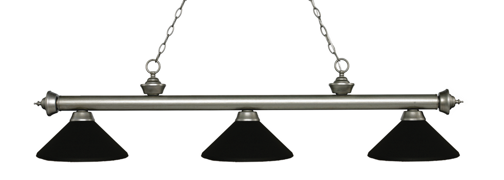 Riviera Pool Table Light Antique Silver/Matte Black Shade - Gameroom Goodies Pool Table Lights