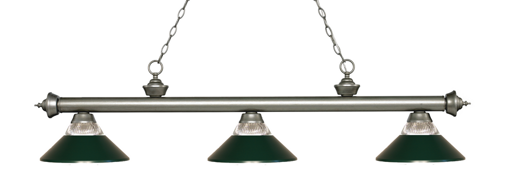 Riviera Pool Table Light Antique Silver/Glass and Dark Green Shade - Gameroom Goodies Pool Table Lights