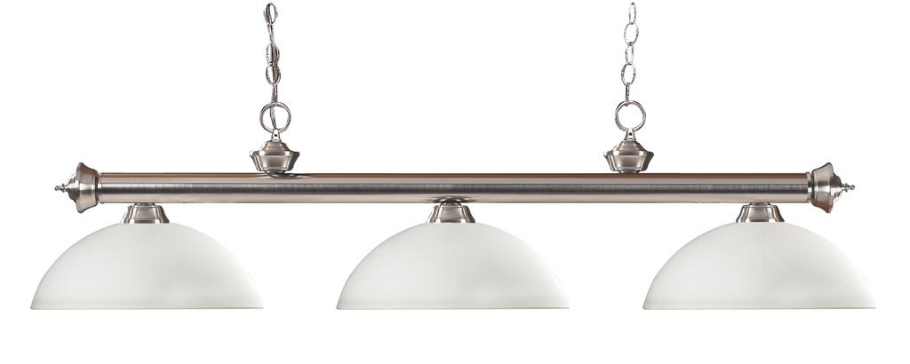 Riviera Pool Table Light Brushed Nickel/Matte Opal Shade - Gameroom Goodies Pool Table Lights