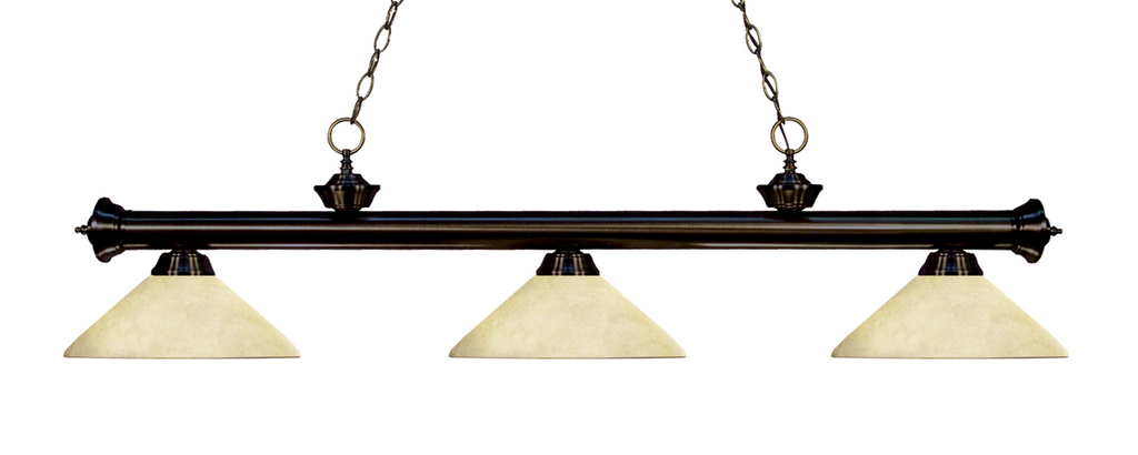 Riviera Pool Table Light Bronze/Angle Golden Mottle Shade - Gameroom Goodies Pool Table Lights