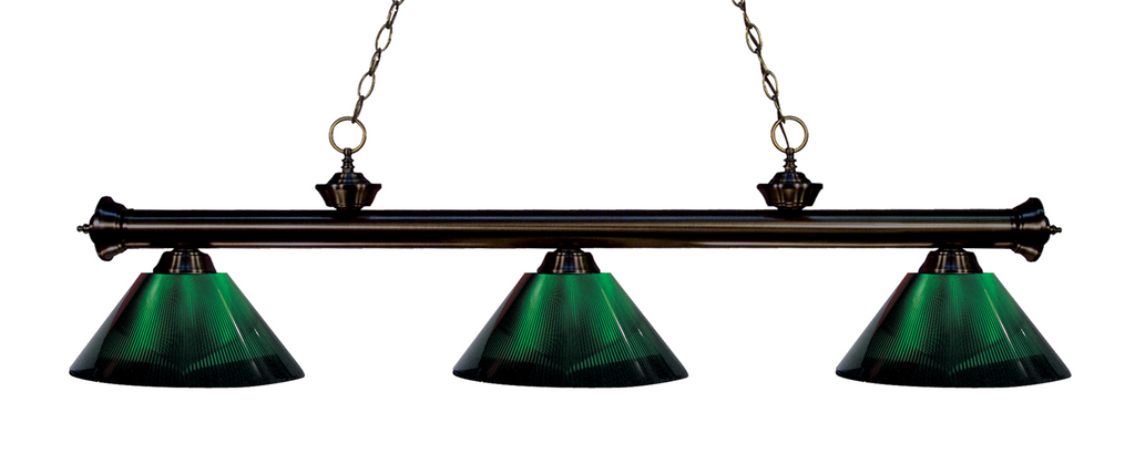 Riviera Pool Table Light Bronze/Green Shade - Gameroom Goodies Pool Table Lights