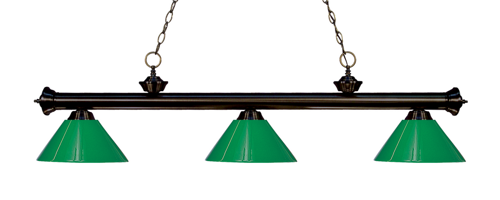 Riviera Pool Table Light Bronze/Solid Green Shade - Gameroom Goodies Pool Table Lights