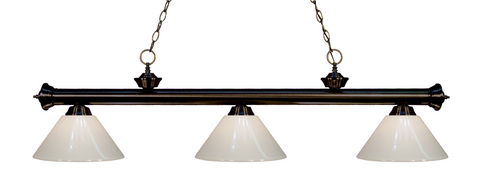 Riviera Pool Table Light Bronze/White Shade - Gameroom Goodies Pool Table Lights