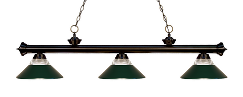 Riviera Pool Table Light Bronze/Glass and Dark Green Shade - Gameroom Goodies Pool Table Lights