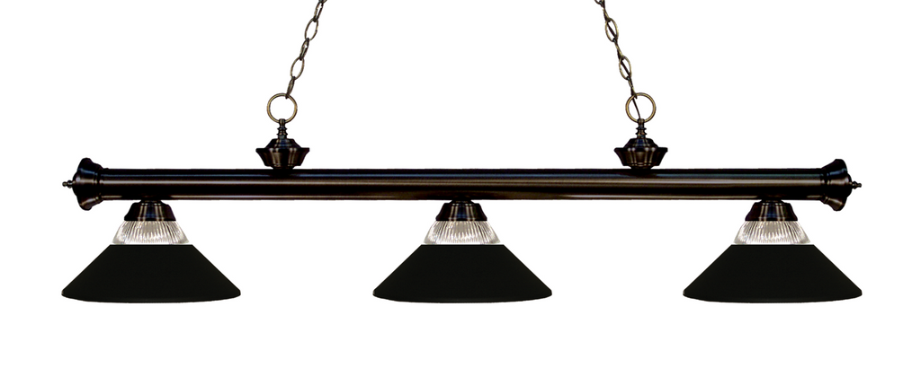 Riviera Pool Table Light Bronze/Glass and Matte Black Shade - Gameroom Goodies Pool Table Lights