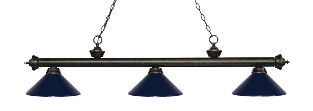 Riviera Pool Table Light Golden Bronze/Navy Blue Shade - Gameroom Goodies Pool Table Lights